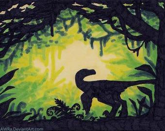 """Original ACEO """"Jungle Raptor"""""""