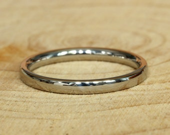 2mm Wide Comfort Fit / Court Shape Titanium Plain band Wedding Ring