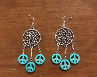 Dream Catcher Peace Earrings
