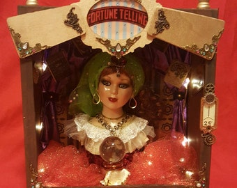 Beautiful one of a kind Fortune Teller diorama!  Lights up, 11 inches tall.  Remember how much fun these were at the fair?
