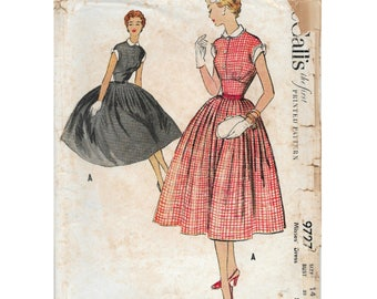 50s McCall's dress sewing pattern 9727, bust 32 inches