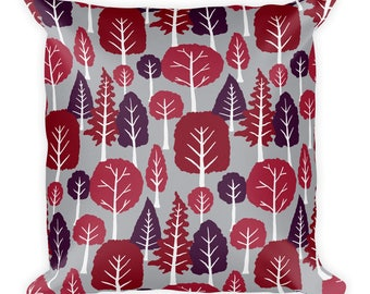 Beautiful trend-forward grey and plum, dark pink tree pattern on gorgeous Square Pillow Home Decor