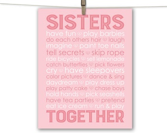 Custom twin sisters wall decor subway art - personalized twin girls room decor - sisters art print - pink and gray - sisters Names