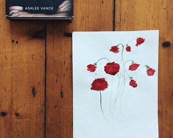 Watercolour flower painting, Poppies by @flowersaftermidnight - A4 size