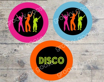 DISCO DANCE PARTY cupcake toppers Printable cupcake toppers  Envelope Seals  Stickers Disco Theme Party