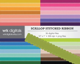 Scallop Ribbon Clip Art Digital Pack, Stitched Ribbon, Textured Ribbon, Digital Scrapbooking, Instant Download