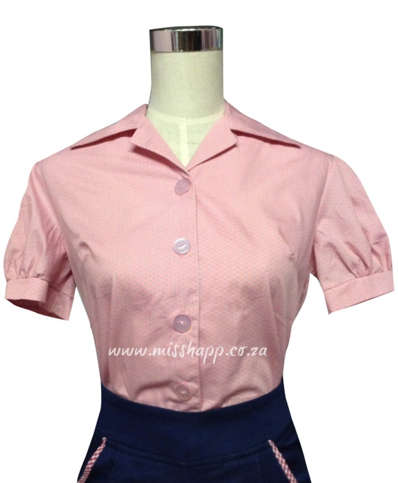 1950s Rockabilly & Pin Up Tops, Blouses, Shirts Pink Retro Blouse with aqua spotPink Retro Blouse with aqua spot $38.00 AT vintagedancer.com