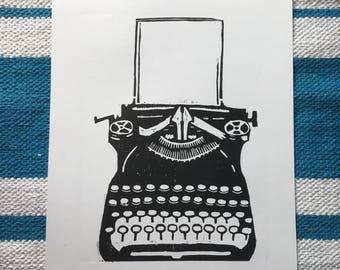 Typewriter. Original woodcut print, Wall Art