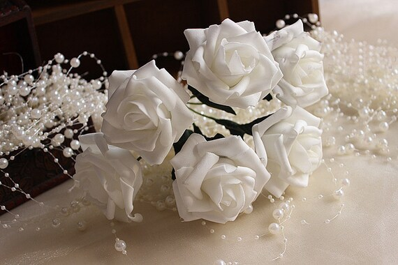 White roses foam flowers artificial off white flowers for white roses foam flowers artificial off white flowers for bridal bouquet wedding centerpieces white decor 72 pcs lz yp72 01 mightylinksfo Images