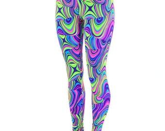 Neon UV Glow Worm Print Smooth High Waist Lycra Spandex  Leggings Neon Run 150580