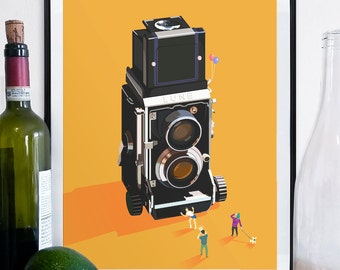 Vintage camera poster, camera poster, camera print, graphic design, funny poster, art poster, detailed art, camera art