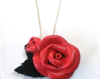 Red Flower Necklace  Leather Rose /Brooch/Pendant Christmas gift