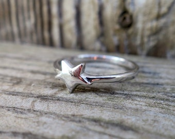 Cute Vintage 925 Sterling Silver Star Stacking Ring