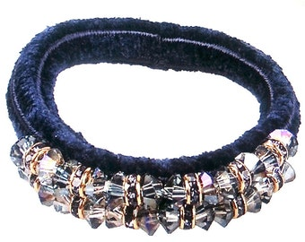 New Navy Multi Color Pastel Bead &  Crystal Elasticized Velvet Hair Tie