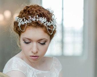 "Haarschmuck, Tiara, silber Krone, Brautschmuck, Boho Haarband, Headpiece Style  ""Sunset"""