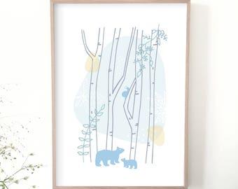 Affiche enfant, illustration, forêt, ours, escargot, déco, chambre bébé, design graphique, chambre enfant, déco enfant, poster, cadeau
