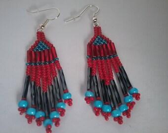 Red/Blue/Gunmetal Earrings, Brick Stitch Earrings, Hand-stitched Earrings, Dangle Earrings, Native American Style, Fringe Earrings