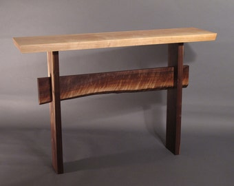 Console Table w/ Live Edge Stretcher- Minimalist Modern Hall Table, Narrow Entry Table- STATEMENT COLLECTION
