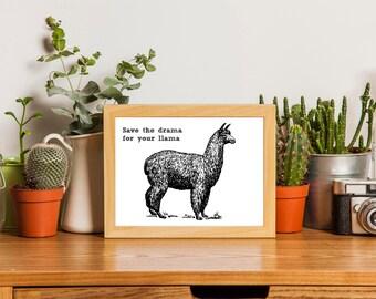 Llama Gift, Llama Print, Llama Funny, Funny Art, Printable Art, Instant Download, Sketch Style Digital Art Print