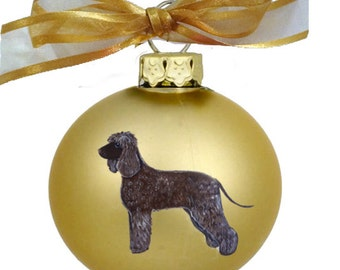 Irish Water Spaniel Dog Hand Painted Christmas Ornament - Can Be Personalized with Name