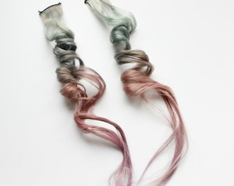Green Red Hair Extension, Pastel hair Clip In Extension, Scene Hair, 22 - 24 inch extension, Emo hair | Desert Sunrise
