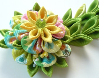 Yellow Green Kanzashi Fabric Flower hair clip with falls. Yellow and green fabric flower.