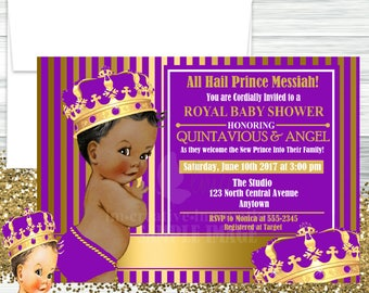Purple and Gold Royal Prince Baby Shower Invitation, Little Prince Invitation - Digital File or Printed