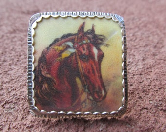 Vintage Horse Cocktail Ring Sterling Silver and Shrinky Dink Shrink Plastic Horse Equestrian Jewelry