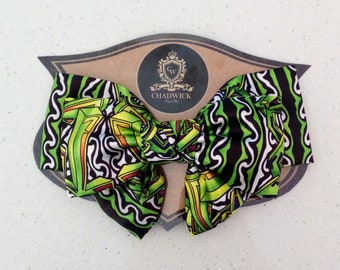 Lime Abstract Designer Triple Hair Bow on Clip