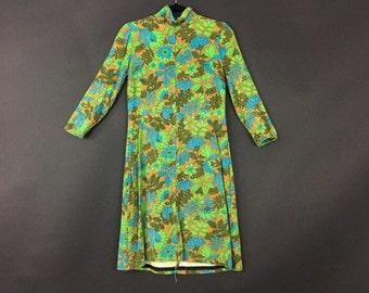 60's Green Floral Print Cotton Dress