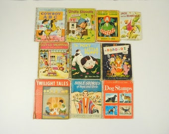 Lot of 10 Vintage 1950s Children's Books Mostly Little Golden Paper Crafting Children Kids Baby Classroom Decor