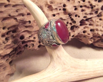 NATURAL CARNELIAN Tribal silver ring   Free Shipping