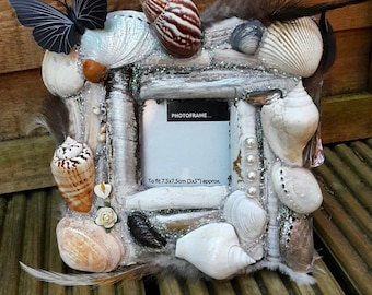 Seashell picture frame shell fram bespoke fram unique picture frame seashell decor shell interior boho frame