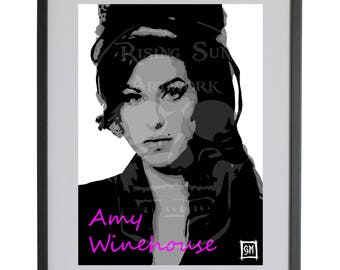 Amy Winehouse Hand drawn A3 Poster