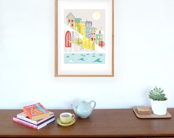 San Francisco Large Art Print Skyline Large Paper Poster, Cityscape illustration, Home Decor, Office and Nursery Art Picture LPPSF1