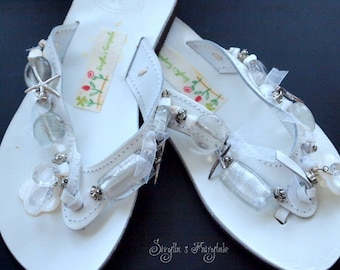 "White Leather sandals with glass beads -Flip Flops - ""SnowWhite"""
