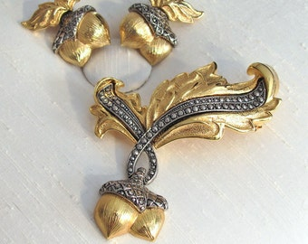 Elegant Acorn ~ Vintage Avon Marcasite Brooch Set ~ Pin and Clip Earrings