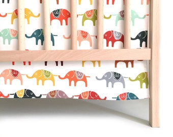 Crib Skirt Colorful Elephants. Baby Bedding. Crib Bedding. Crib Skirt Boy. Gender Neutral Nursery. Elephant Crib Skirt. Colorful Crib Skirt.