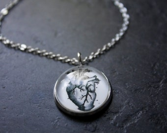 Anatomical Heart Necklace - Tiny Silver Anatomy Necklace - Science Necklace - Realistic Heart Necklace - Heart Pendant - Medical Necklace
