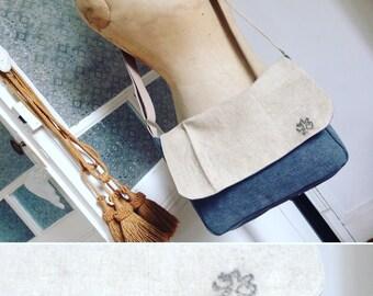 Besace bandoulière  homme mixte coton épais gris, Rabat sac ancien recyclé bandoulière coton réglable