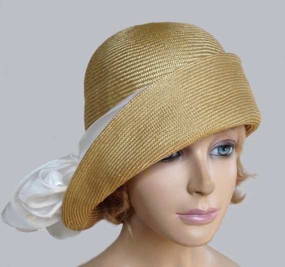 Gabby, Cloche Flapper Hat, Womens Parasisal Straw Millinery Hat With White Silk Scarf by Etsy