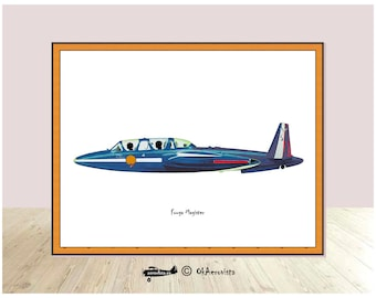 Fouga Magister, airplane watercolor poster, digital illustration machines for print, instant download aircraft, aircraft printable, training
