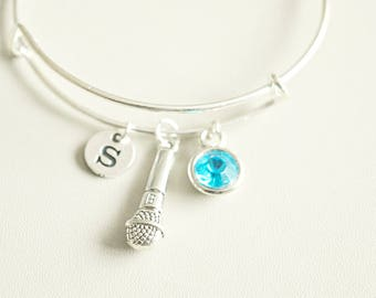 Microphone bracelet, Microphone bangle, Mic bracelet, Mic Charm, Personalized jewelry, Gift for singer, Singer, DJ, Music lover, Media, TV