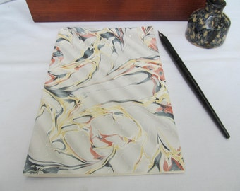 Gray, red, black, yellow and cream hand marbled paper hand sewn notebook