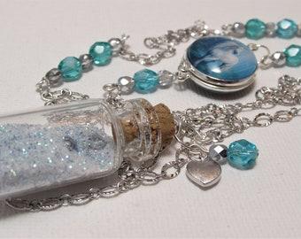 Unicorn Necklace - Extra Long Necklace - Glass Cabochon Necklace - Glass Bottle Necklace - Romantic Necklace - Unique Necklace