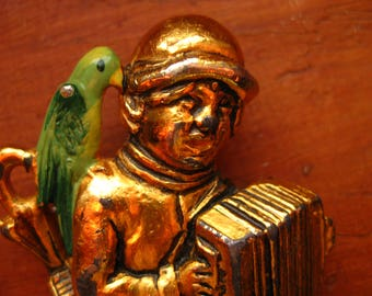 Figural Brooch Man His Parrot Accordian