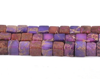 """0375 4mm Purple sea sediment jasper cube loose gemstone beads 16"""""""