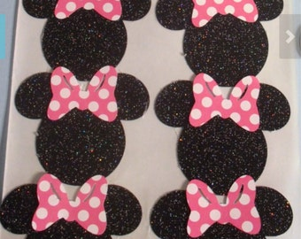 MINNIE MOUSE Heads GLITTER Cut Outs Stickers Seals Set of 10