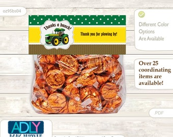 Boy Tractor Treat Goodie bag Toppers Printable for Baby Boy Shower or Birthday DIY green Yellow, Farm - oz95bs4
