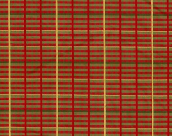 Red and Gold Woven Silk Plaid by the Yard - Christmas Silk